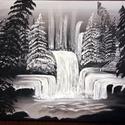 Téli erdő, Művészet, Festmény, Akril, Festészet, 30x25 cm-es vászonra készített fekete-fehér erdei tájkép akril technikával., Meska