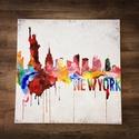 #szinesnewyork, Képzőművészet, Festmény, Akril, Festészet, Modern stílusú akril festmény melyet az absztrakt New York ihletett .   A festmény ecsettel és sziv..., Meska