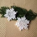 Horgolt hópihe fülbevaló, Ékszer, óra, Fülbevaló, Horgolt hópihe fülbevaló karácsonyra remek egyedi választás.   Mérete akasztó nélkül 5 cm...., Meska