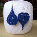 Kétféleképpen viselhető horgolt fülbevaló, Ékszer, Fülbevaló, Kék fülbevalóm kétféleképpen hordható, kinek hogy tetszik...egyszer így, egyszer úgy. Elegáns darab ..., Meska
