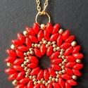 Piros super duo nyaklánc, Ékszer, Medál, Nyaklánc, Saját készítésű nyaklánc piros és arany színekben, super duo - kása felhasználásával ké..., Meska