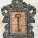 Egyedi romantikus képkeret - régi kulcs - antik - barokk - vintage hangulat - shabby  chic stílus - kézzel készült darab, Egyetlen darab készült ebből a képből, melyne...