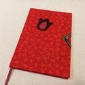 A/5 Piros tulipános, kampós határidő napló, Otthon & lakás, Naptár, képeslap, album, Naptár, Méretek: 14 x 20 cm. heti beosztású határidő napló, melynek az oldalait kézzel rajzoltam, terveztem...., Meska