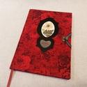 A/5 Piros, virágberakásos határidő napló, Otthon & lakás, Naptár, képeslap, album, Naptár, Méretek: 14 x 20 cm, heti beosztású napló, halvány vajsárga színű lapokkal. Kézzel írott, rajzolt be..., Meska