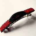 -30 %Piros-fekete gyöngycsat, Ruha, divat, cipő, Ékszer, óra, Hajbavaló, Gyöngyfűzés, 30% kedvezmény Piros superduo és fekete delica gyöngyből készült elegáns franciacsat.A díszítés hos..., Meska