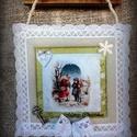 """Textil kép """"Találkozás"""", Karácsonyi, adventi apróságok, Karácsonyi dekoráció, Varrás, Romantikus """"szösszenet"""" álmodozó lelkű romantikusoknak. Halvány pasztell színek, finom kidolgozású ..., Meska"""