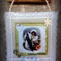 """Textil kép """"Szőrmés hölgy"""", Dekoráció, Ünnepi dekoráció, Karácsonyi, adventi apróságok, Karácsonyi dekoráció, Varrás, Romantikus """"szösszenet"""" álmodozó lelkű romantikusoknak. Halvány pasztell színek, finom kidolgozású ..., Meska"""