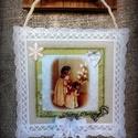"""Textil kép """"Leskelődők"""", Dekoráció, Ünnepi dekoráció, Karácsonyi, adventi apróságok, Karácsonyi dekoráció, Varrás, Romantikus """"szösszenet"""" álmodozó lelkű romantikusoknak. Halvány pasztell színek, finom kidolgozású ..., Meska"""