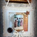 """Textil kép """"Három lányka"""", Dekoráció, Ünnepi dekoráció, Karácsonyi, adventi apróságok, Karácsonyi dekoráció, Varrás, Romantikus """"szösszenet"""" álmodozó lelkű romantikusoknak. Halvány pasztell színek, finom kidolgozású ..., Meska"""