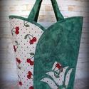 """Tulipános táska- """"Cseresznyék, len, zölddel """" , Táska, Szatyor, Vigyázz! :) A tulipános táska """"függőséget"""" okoz! Népszerűsége talán abban rejlik, hogy a praktikum e..., Meska"""