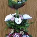 Horgolt örökcsokor, Esküvő, Meghívó, ültetőkártya, köszönőajándék, Esküvői csokor, Nászajándék, Horgolás, Virágkötés, Igazán egyedi, horgolással készült virágokból és élő zöldből álló emeletes virágcsokor. A szintek e..., Meska