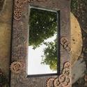 Steampunk Falitükör 40 x 26 cm., Otthon, lakberendezés, Képkeret, tükör, Festett tárgyak, Steampunk Falitükör 40 x 26 cm széles,belső méret 27 x 13 cm.A fa tükörkeret elkészítését követően,..., Meska