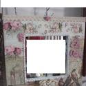 Édes Otthon-Vintage Falitükör , Otthon, lakberendezés, Képkeret, tükör, Festett tárgyak, Édes Otthon Vintage Falitükör 30 x 30 cm széles,belső méret 16 x 16 cm.A fa tükörkeret dekupázsolás..., Meska