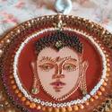 Buddha mandala, Otthon & Lakás, Függődísz, Dekoráció, Festett tárgyak, A képen látható : Buddha mandala 15 cm-átmerőjű , fémkeretes üveglapra festettem.  Igazi földelő en..., Meska