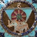 Kiselefánt Mandala, Otthon & Lakás, Dekoráció, Falra akasztható dekor, Festészet, A kiselefánt ,lapis kövecskék ölelésében segít Neked, hogy szeretettel kommunikálj., Meska