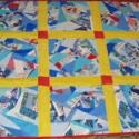 Kék-sárga crazy ágytakaró fiatal lányoknak vagy fiúknak, Otthon, lakberendezés, Lakástextil, Takaró, ágytakaró, Crazy technikával készült patchwork, foltvarrott pamut ágytakaró fiatal lányoknak vagy fiúkna..., Meska