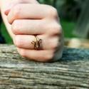Bronz gyűrű, Ékszer, óra, Gyűrű, Egyedi mintájú bronzszínű gyűrű. 62-es méret., Meska