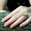 Bronz gyűrű, Ékszer, Gyűrű, Egyedi mintájú bronzszínű gyűrű. 62-es méret., Meska