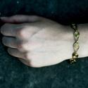 Bronz karkötő, Ékszer, Karkötő, Egyedi mintájú bronzszínű karkötő. A karkötő 19 cm hosszú, a kapoccsal együtt., Meska