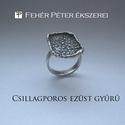 Csillagporos ezüst gyűrű, Ékszer, Gyűrű, Ez a gyűrű egy teljesen egyedileg készített ezüst gyűrű.  A gyűrű fej részén az ezüst lap olyan külö..., Meska