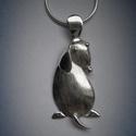 Kutyus, kutya medál ezüstből. Teljesen saját tervezésű és készítésű, Ékszer, Medál, Ez a kutyus medál teljesen saját tervezésű és kivitelezésű ezüst ékszer.  A kutyus domborított eleme..., Meska