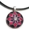 """""""Mandala"""" festett nyaklánc akcióban, Ékszer, óra, Ékszerszett, Ékszerkészítés, Festett  lila-rózsaszín Mandala mintás üvegmedál. Átmérő: 2,8 cm Gyönyörűen csillog! A képen lévő g..., Meska"""