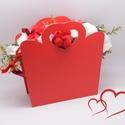 Virágkosár piros 23 cm, Művészet, Más művészeti ág, Virágkötés, Lepd meg kedvesedet, édesanyádat, lányodat vagy egy családtagodat ezzel a látványos és egyedi ajánd..., Meska