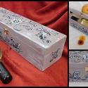 AKCIÓ Elegáns, vintázs boros doboz, díszdoboz DEKORÁCIÓ, AJÁNDÉK, Dekoráció, Otthon, lakberendezés, Dísz, Tárolóeszköz, Famegmunkálás, Festett tárgyak, Kézzel festett, elegáns, színes boros doboz. Kiváló tömör fa kivitel, csatos. jól zárható doboz.  H..., Meska