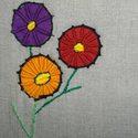 Special - tároló zsákocska (üresen), Táska, Otthon, lakberendezés, Tárolóeszköz, Avatott, dupla, szürke vászonból készült ez a vidám virágokkal díszített - általam gyúródeszka és so..., Meska