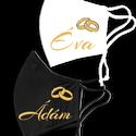 Esküvői maszk pár, Maszk, Arcmaszk, Férfi & Uniszex, Decoupage, transzfer és szalvétatechnika, Esküvői kétrétegű maszkok párban, arany színű felirattal. Alapanyaga pamut, mosható. A férfi maszk ..., Meska