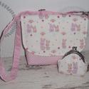 Nyuszis táska és pénztárca  kislányoknak, Táska, Pénztárca, tok, tárca, Válltáska, oldaltáska, Varrás, Rózsaszín pöttyös és nyuszis pamutvászonból készítettem ezt a szettet. A táska méretei: 19x17 cm. A..., Meska