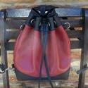 Gotta Bucket Bag - Hátizsákká alakítható, Táska, Válltáska, oldaltáska, Fekete és bordó színű textilbőrből készítettem ezt a bugyor formájú táskát. Méretei: magassága a 31 ..., Meska