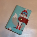 Kártya és igazolvány tartó - Rókák télen, Táska, Pénztárca, tok, tárca, Designer pamutvászon és valódi bőr pánt felhasználásával készítettem ezt a 24 db kártya tárolására a..., Meska