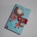 Kártya és igazolvány tartó - Mackók pizsiben, Táska, Pénztárca, tok, tárca, Designer pamutvászon és valódi bőr pánt felhasználásával készítettem ezt a 24 db kártya tárolására a..., Meska