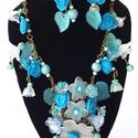 Kék rózsakert- virágos vintage nyaklánc és fülbevaló, Ékszer, óra, Ékszerszett, Fülbevaló, Nyaklánc, Ékszerkészítés, Vidám,akril virágos, egyedi vintage stílusú bronz színű nyaklánc és fülbevaló.  Kék színű akril róz..., Meska