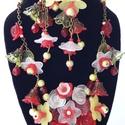 Piros nyár-  virágos vintage nyaklánc és fülbevaló, Ékszer, óra, Ékszerszett, Fülbevaló, Nyaklánc, Ékszerkészítés, Elegáns, virágos, egyedi, vintage stílusban bronz színű alapra készített nyaklánc és fülbevaló szet..., Meska