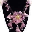 Virágözön -  rózsaszín, lila virágos  nyaklánc