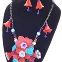 Piros-kék könnyedség -nyaklánc és fülbevaló, Ékszer, Ékszerszett, Fülbevaló, Nyaklánc,  Egy halom nyári virág;, rózsa, margaréta, fukszia,harangvirág piros- kék kompzíciója.A piro..., Meska