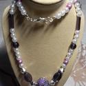 Bali gyöngyös lila-fehér nyaklánc, Ékszer, Nyaklánc, Gyönyörű orgona lila színű indonéz gyönggyel készített nyaklánc. Fehér, ezüst, és lila ..., Meska