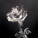 Üvegrózsa II., Dekoráció, Képzőművészet, Dísz, Látványosan, élethűen elkészített víztiszta üvegrózsa. Teljesen kinyílt állapotot idéz., Meska