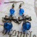 Masnis fülbevaló kék gyöngyökkel, Ékszer, óra, Esküvő, Fülbevaló, Esküvői ékszer, Gyöngyfűzés, Csinos, romantikus, vintage stílusú fülbevaló, amelyt roppantott üveggyöngyök, bronz színű szerelék..., Meska