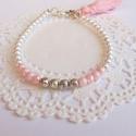 Rózsaszín bojtos karkötő, Ékszer, óra, Esküvő, Karkötő, Esküvői ékszer, Mind a négy évszakban tökéletes kiegészítője lehet öltözékednek ez a csinos bojtos karköt..., Meska