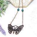 Réz pillangó, Ékszer, Karkötő, Antikolt  réz színű nyaklánc,nagy méretű vintage pillangó olló medállal. A láncot, türkiz színű kris..., Meska