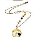 Klimt, anya es gyermeke  nyaklánc, Ékszer, Karkötő, Antikolt bronz színű,üveglencsés lánc, Gustav Klimt anya és gyermeke című képével.  Az üveglencsébe ..., Meska