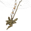 tündér nyaklánc, Ékszer, Nyaklánc, antikolt bronz színű tündér nyaklánc, amely egy nagy tündér medálból ásványból, és üvegkristályokból..., Meska