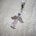 Swarovski őrangyalka, Ékszer, Medál, Mobilékszer, Crystal Ab Swarovski kristályból készült, ezüst színű szereléken lebegő angyalka. Tökéletes ajándék ..., Meska