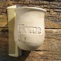 AKCIÓ!! Home feliratú  tároló, Szépségápolás, Fürdőszobai kellék, Kerámia, Fehérre égő agyagból készítettem ezt a Home feliratos   tárolót..A felület antikolt,régies hatású. ..., Meska