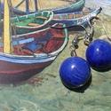 Nyár,tenger......, Ékszer, óra, Fülbevaló, A kerámiagyöngyöket fehérre égő agyagból  készítettem.A lapított ,kék gyöngy átmérője..., Meska