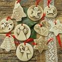 AKCIÓ!!! Vintage karácsonyfadíszek. , Fehérre égő agyagból készítettem ezeket a ka...