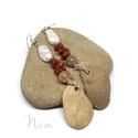 Kairó - ásvány, gyöngy és kavics fülbevaló, Ékszer, Fülbevaló, Kavicsfülbevalóim következő, hosszabb, nagyobb méretű darabja őszre. **** Pici, 6-10 mm-es go..., Meska